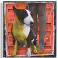 bull terrier <span> mixed media on wooden  assembled  panels</span>
